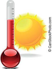 termómetro, con, sol