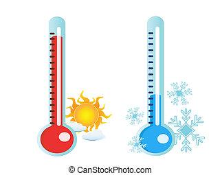 termómetro, en, caliente, y, frío, temperatura