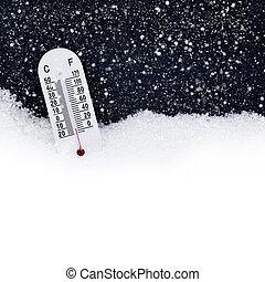 termómetro, en, el, nieve, con, ambos, centígrado, y,...
