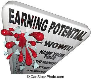termómetro, -, expectations, potencial, ingresos, ganancia