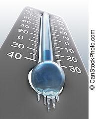 termómetro, helado