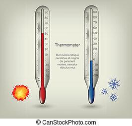 termómetro, iconos, con, caliente, y, frío, temperaturas