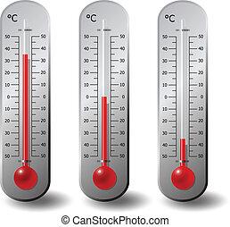 termómetros, centígrado, grado, conjunto