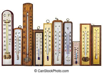 termómetros, conjunto, aislado, blanco, retro