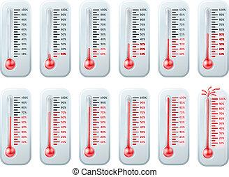 termómetros, levantamiento, temperatura