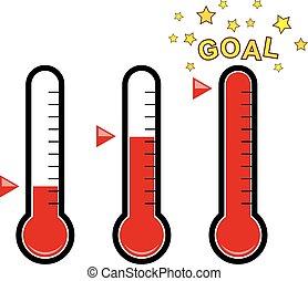 termómetros, vector, clipart, meta, conjunto