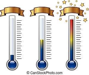 termómetros, vector, niveles, meta, diferente
