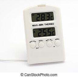 termômetro digital, com, wire.