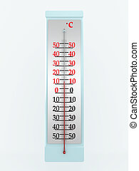 termômetro, isolado, branco, experiência., 3d, imagem