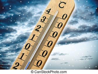 termômetro, mostrando, tempo frio