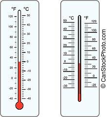 termômetros, vetorial, isolado, branco, fundo