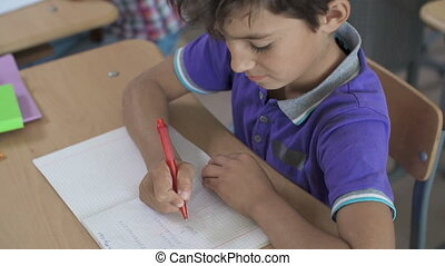Term Assessment - Close up of boy doing sums in notebook