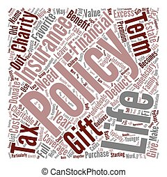 Term Life Insurance As A Charitable Gift text background word cloud concept
