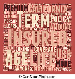 Term Life Insurance For Californians text background wordcloud concept