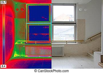 termal, y, verdadero, imagen, de, radiador, calentador, y, un, ventana, en, un, edificio