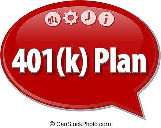 terme, 401(k), illustration affaires, parole, plan, bulle