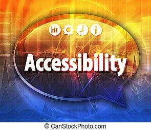 terme, business, accessibilité, illustration, bulle discours