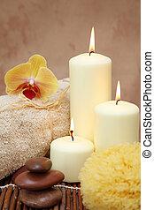 terme, con, bianco, candele