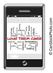 terme, concept, mot, touchscreen, long, téléphone, nuage, soin