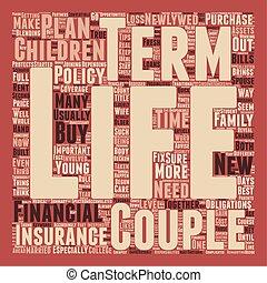 terme, concept, nouveaux mariés, texte, vie, wordcloud, fond, assurance