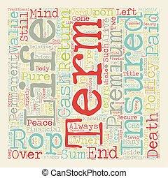 terme, concept, retour, texte, vie, wordcloud, fond, prime, assurance