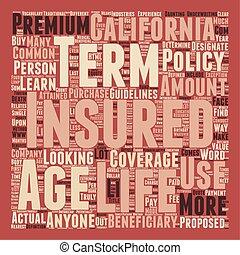 terme, concept, texte, vie, wordcloud, californians, fond, assurance