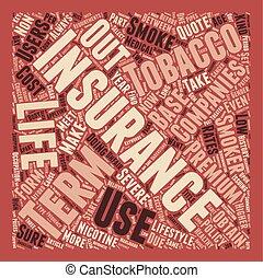 terme, concept, utilisateurs, tabac, texte, vie, wordcloud, fond, assurance