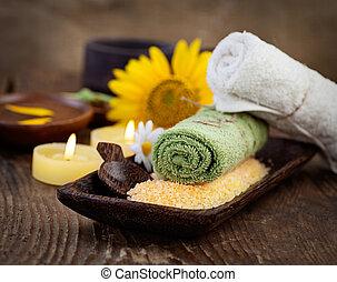 terme, e, wellness, regolazione, con, naturale, sale bagno, candele, e, asciugamano, massager, e, sunflower.., marrone, dayspa, natura, set, con, copyspace
