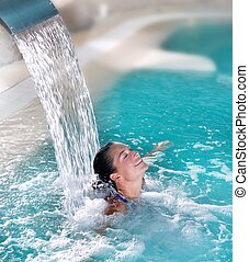 terme, idroterapia, donna, cascata, jet