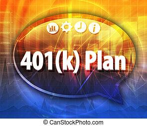 terme, illustration affaires, 401k, parole, plan, bulle