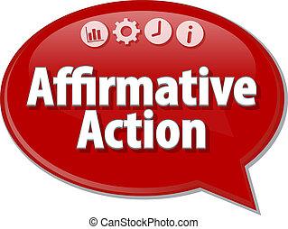 terme, illustration affaires, affirmatif, parole, action, bulle