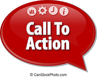 terme, illustration affaires, appeler, action, bulle discours