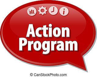 terme, illustration affaires, programme, parole, action, bulle