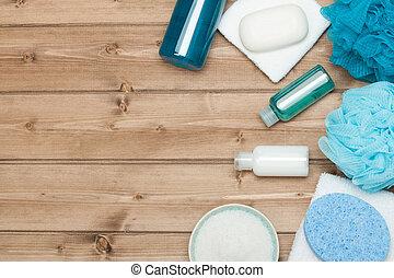 terme, kit., cima, vista., shampoo, barra sapone, e,...