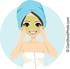 terme, maschera, trattamento, facciale
