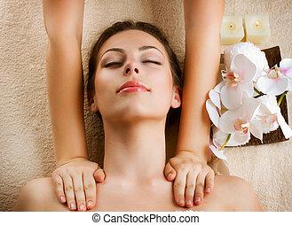 terme, massage., bellezza, donna, prendendo massaggio