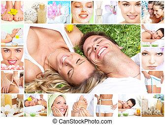 terme, massaggio, collage.