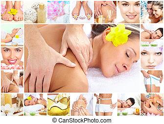 terme, massaggio, collage, fondo.
