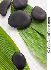 terme, massaggio, pietre, su, bambù, foglie