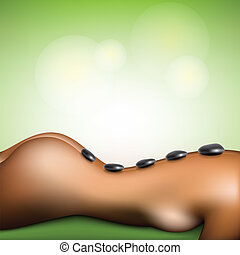 terme, pietra, donna, massaggio