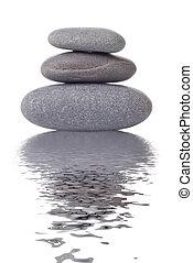 terme, pietre, con, riflessione, isolato, bianco