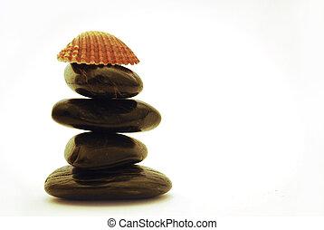 terme, pietre, e, conchiglia