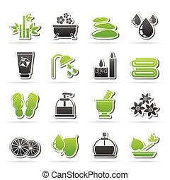 terme, rilassare, oggetti, icone