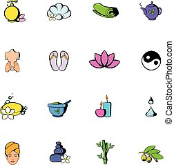 terme, set, cartone animato, icone