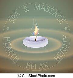 terme, tema, vettore, illustrazione, con, candle.