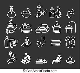 terme, terapia, cosmetica, massaggio, icone