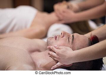terme, testa, godere, coppia, massaggio