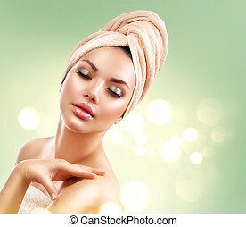 terme, woman., bello, ragazza, secondo, bagno, toccante, lei, faccia