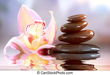 terme, zen, stones., armonia, concetto