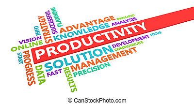termelékenység, szó, felhő